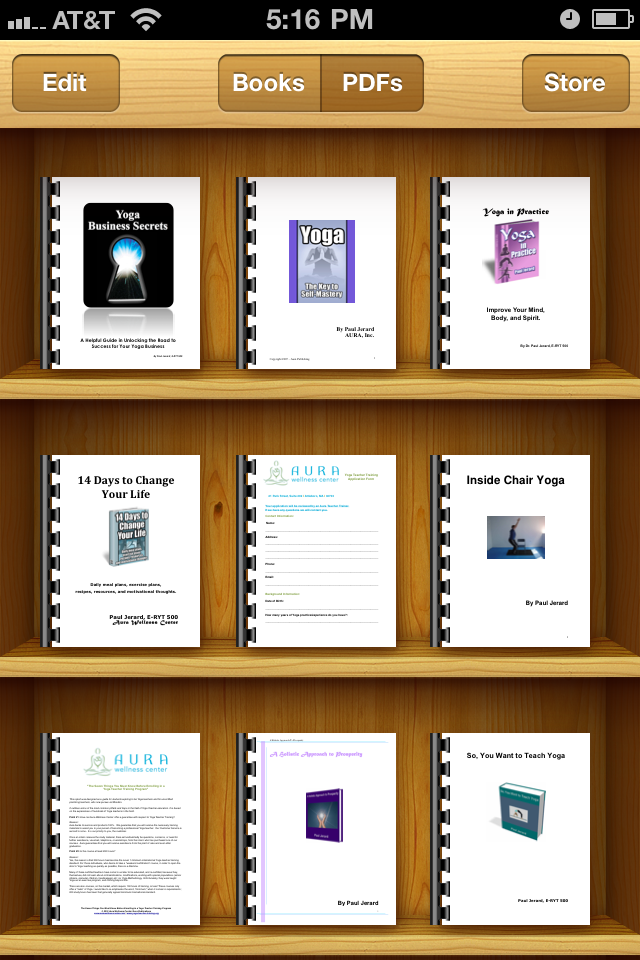 e-Books in iBooks for yoga teacher training