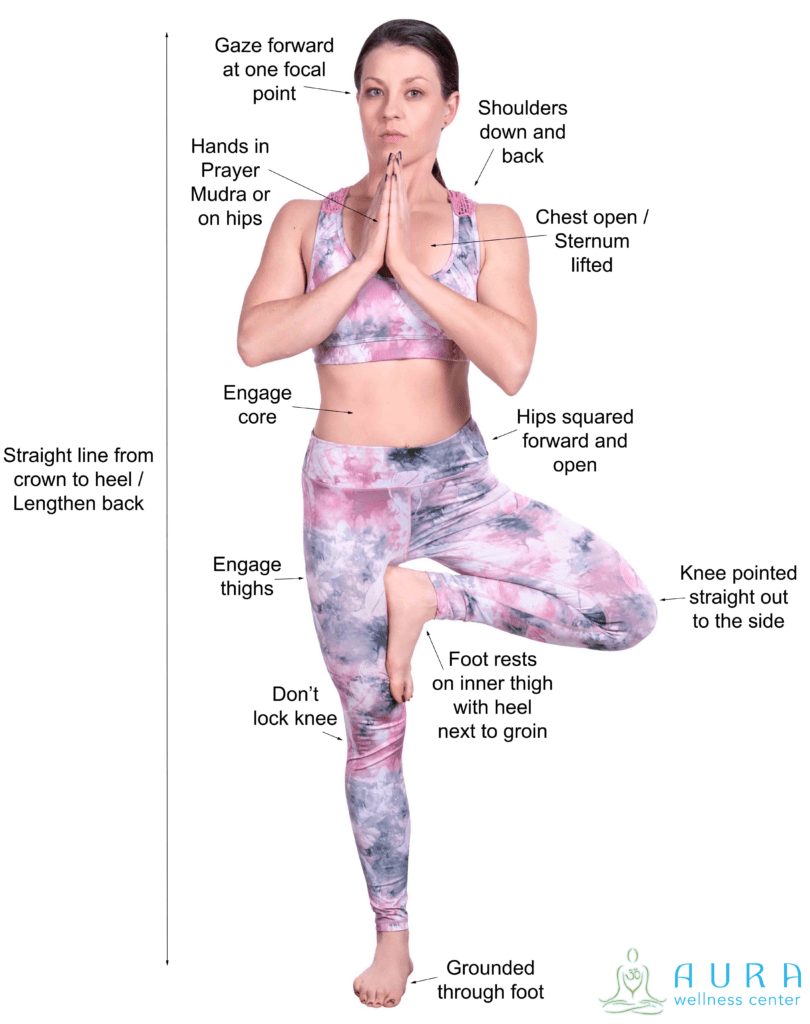 Tree Pose - Cues - with logo